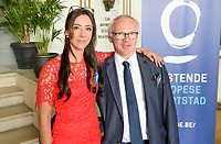 20170604 – OOSTENDE , BELGIUM :  Tina Titeca pictured with Luc Calleeuw during the 3nd edition of the Sparkle award ceremony , Sunday 4 June 2017 , in Oostende . The Sparkle  is an award for the best female soccer player in the Belgian Superleague and 1st division during the season 2016-2017 comparable to the Golden Shoe or Boot / Gouden Schoen / Soulier D'or for Men in Belgium . PHOTO SPORTPIX.BE | DAVID CATRY