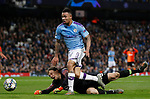 Gabriel Jesus of Manchester City goes around Andriy Pyatov of Shakhtar Donetsk during the UEFA Champions League match at the Etihad Stadium, Manchester. Picture date: 26th November 2019. Picture credit should read: Darren Staples/Sportimage