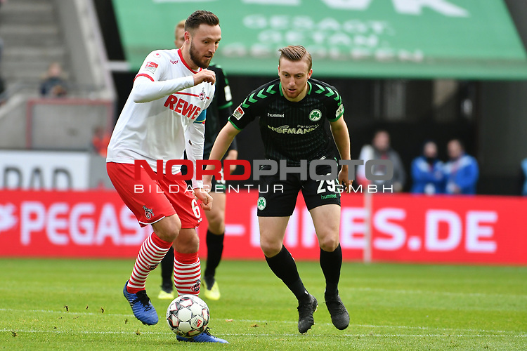 01.12.2018, RheinEnergieStadion, Koeln, GER, 2. FBL, 1.FC Koeln vs. SpVgg Greuther Fürth,<br />  <br /> DFL regulations prohibit any use of photographs as image sequences and/or quasi-video<br /> <br /> im Bild / picture shows: <br /> Tobias Mohr (Fuerth #29), im Zweikampf gegen  Marco Höger/Hoeger (FC Koeln #6),  <br /> <br /> Foto © nordphoto / Meuter