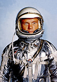 Astronaut John H. Glenn Jr. in his Mercury spacesuit at Langley Research Center in Hampton, Virginia in February, 1962..Credit: NASA via CNP