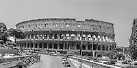 Travel Art Print Photograph. The Colosseum is probably the most impressive building of the Roman empire. It was originally known as the Flavian Amphitheater and was completed in AD 80. This black and white photograph of a section of the Colosseum captures the drama and character of the time.