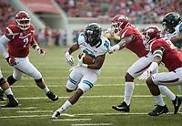 NWA Democrat-Gazette/CHARLIE KAIJO Coastal Carolina Chanticleers running back Alex James (22) runs the ball during a football game on Saturday, November 4, 2017 at Razorback Stadium in Fayetteville
