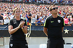 16 August 2015: U.S. head coach Jill Ellis (ENG) (left) with assistant coach Tony Gustafsson (SWE) (right). The United States Women's National Team played the Costa Rica Women's National Team at Heinz Field in Pittsburgh, Pennsylvania in an women's international friendly soccer game. The U.S. won the game 8-0.