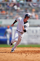 New York Yankees left fielder Ben Gamel (82) running the bases during a Spring Training game against the Detroit Tigers on March 2, 2016 at George M. Steinbrenner Field in Tampa, Florida.  New York defeated Detroit 10-9.  (Mike Janes/Four Seam Images)