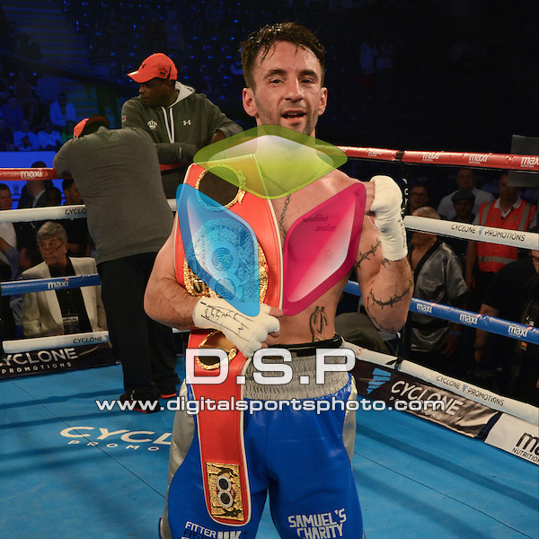 Lee Haskins VS Ivan Morales - IBF World Bantamweight Title Contest During Haskins VS Morales On Saturday 14th May 2016. Photo by: Sophie Merlo.<br /> <br /> ICE Arena, Cardiff, Wales, United Kingdom.