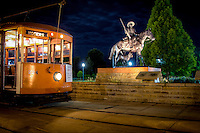 The fort Smith trolley in front of the Bass Reves Monument.Fort Smith Trolley Museum  operates a fully restored original electric streetcar in historic downtown Fort Smith.