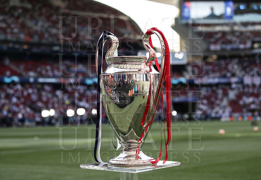 The trophy is seen before the start of the UEFA Champions League final football match between Tottenham Hotspur and Liverpool at Madrid's Wanda Metropolitano Stadium, Spain, June 1, 2019.<br /> UPDATE IMAGES PRESS/Isabella Bonotto
