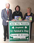 Mayor Anthony Donohoe, Ruby Cassely, Cassely's Extreme Funfair and Isabelle San Roma, Director of the St Patricks Day Parade at the Launch of the St.Patricks Day Parade in the D Hotel...Photo NEWSFILE/Jenny Matthews.(Photo credit should read Jenny Matthews/NEWSFILE)....This Picture has been sent you under the condtions enclosed by:.Newsfile Ltd..The Studio,.Millmount Abbey,.Drogheda,.Co Meath..Ireland..Tel: +353(0)41-9871240.Fax: +353(0)41-9871260.GSM: +353(0)86-2500958.email: pictures@newsfile.ie.www.newsfile.ie.FTP: 193.120.102.198.