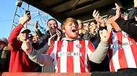 Brentford fans celebrate at the final whistle after beating Millwall 3-2 during Brentford vs Millwall, Sky Bet EFL Championship Football at Griffin Park on 19th October 2019