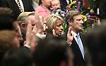 Nevada Senators Barbara Cegavske, R-Las Vegas, and Greg Brower, R-Reno, take the oath of office on the Senate floor at the Legislature in Carson City, Nev. on Monday, Feb. 7, 2011. .Photo by Cathleen Allison