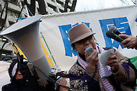 Activist, Cheiko Shiina talks to protesters at an anti-nuclear power demo and occupy Tokyo protest outside the Ministry of the Economy, Trade and Industry (METI) in Tokyo, Japan. Friday 27th January 2012. The protest has been running from September 2011 and was scheduled for forcible eviction by police at 5pm on January 27th as the camp had been declared a fire risk by Minister Yukio Edano, with around 500 supporters and protesters turning up to resist the eviction however the camp was still in place the night of the 27th.