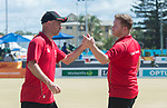 Wales Daniel Salmon and Wales Marc Wyatt in action during the semi-final of the the Mens Pairs <br /> <br /> *This image must be credited to Ian Cook Sportingwales and can only be used in conjunction with this event only*<br /> <br /> 21st Commonwealth Games - Bowls -  Day 4 - 08\04\2018 - Boardbeach Bowls Club - Gold Coast City - Australia