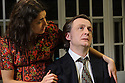 DIVIDED LAING, by Patrick Marmion, directed by Michael Kingsbury, opens at the Arcola. Picture shows: Ameira Darwish (Ulrike Engel), Alan Cox (R. D. Laing).
