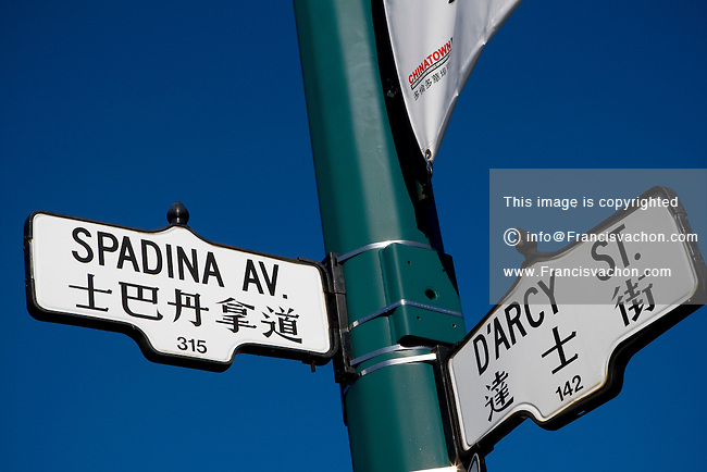Spadina avenue and D'arcy Street English-Chinese street signs are seen in Toronto Chinatown April 19, 2010. Toronto Chinatown is an ethnic enclave in Downtown Toronto with a high concentration of ethnic Chinese residents and businesses extending along Dundas Street West and Spadina Avenue.