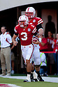 04 Sep 2010: Nebraska Cornhuskers quarterback Taylor Martinez (3) celebrates his first touchdown against the Western Kentucky Hilltoppers at Memorial Staduim in Lincoln, Nebraska. Nebraska defeated Western Kentucky 49 to 10.
