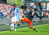 Huddersfield Town's Tommy Smith vies for possession with Sheffield Wednesday's Adam Reach<br /> <br /> Photographer Andrew Vaughan/CameraSport<br /> <br /> The EFL Sky Bet Championship Play-Off Semi Final First Leg - Huddersfield Town v Sheffield Wednesday - Saturday 13th May 2017 - The John Smith's Stadium - Huddersfield<br /> <br /> World Copyright &copy; 2017 CameraSport. All rights reserved. 43 Linden Ave. Countesthorpe. Leicester. England. LE8 5PG - Tel: +44 (0) 116 277 4147 - admin@camerasport.com - www.camerasport.com