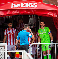 27th June 2020; Bet365 Stadium, Stoke, Staffordshire, England; English Championship Football, Stoke City versus Middlesbrough; A pensive looking Jack Butland of Stoke City as the teams line up