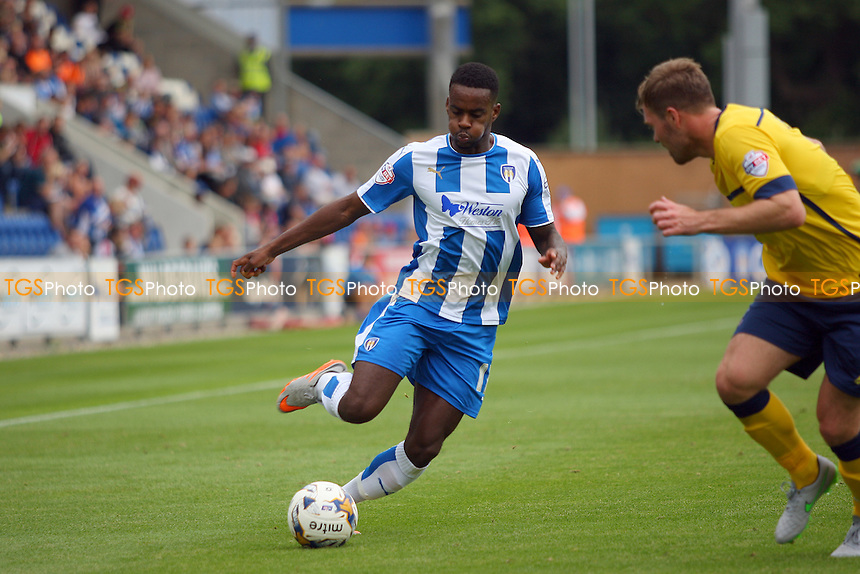Gavin Massey of Colchester United runs with the ball during Colchester United vs Scunthorpe United, Sky Bet League 1 Football at the Weston Homes Community Stadium, Colchester, England on 29/08/2015