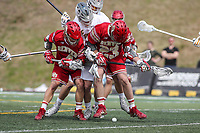 Towson, MD - March 25, 2017: Denver Pioneers Nate Marano (23) tries to get the ground ball during game between Towson and Denver at  Minnegan Field at Johnny Unitas Stadium  in Towson, MD. March 25, 2017.  (Photo by Elliott Brown/Media Images International)