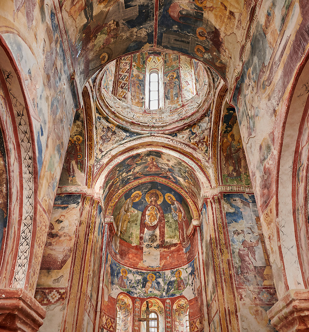 Pictures & images of the Byzantine interior fresco in the Gelati Georgian Orthodox Church St George, 13th century.  The medieval Gelati monastic complex near Kutaisi in the Imereti region of western Georgia (country). A UNESCO World Heritage Site.