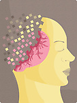 Illustrative image of female representation with scattered head representing Alzheimer's disease