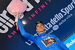 Giulio Ciccone (ITA) Trek-Segafredo retains the mountains Maglia Azzurra at the end of Stage 14 of the 2019 Giro d'Italia, running 131km from Saint-Vincent to Courmayeur (Skyway Monte Bianco), Italy. 25th May 2019<br /> Picture: Gian Mattia D'Alberto/LaPresse | Cyclefile<br /> <br /> All photos usage must carry mandatory copyright credit (© Cyclefile | Gian Mattia D'Alberto/LaPresse)