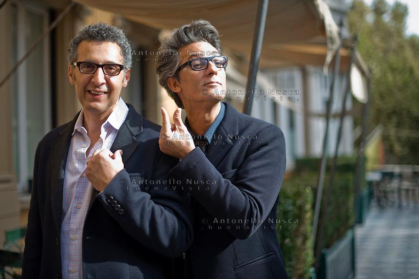 Roma, 12 Ottobre,2010. John Turturro con Fiorello durante il photocall e l'anteprima all'Hotel Majestic di Via Veneto del docufilm Passione