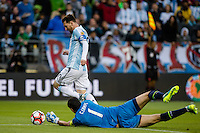 Seattle, WA - Tuesday June 14, 2016: Argentina midfielder Lionel Messi (10) drives past Bolivia goalkeeper Carlos Lampe (1), during a Copa America Centenario Group D match between Argentina (ARG) and Bolivia (BOL) at CenturyLink Field