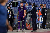Dusan Vlahovic of Fiorentina leaves the pitch after received a red card during the Serie A football match between SS Lazio and ACF Fiorentina at stadio Olimpico in Roma ( Italy ), June 27th, 2020. Play resumes behind closed doors following the outbreak of the coronavirus disease. Photo Antonietta Baldassarre / Insidefoto