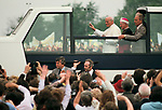 Pope John Paul 2 visits Coventry UK 1982. Huge crowd Roman Catholics attend the Pope travels in his Popemobile. 1980s UK