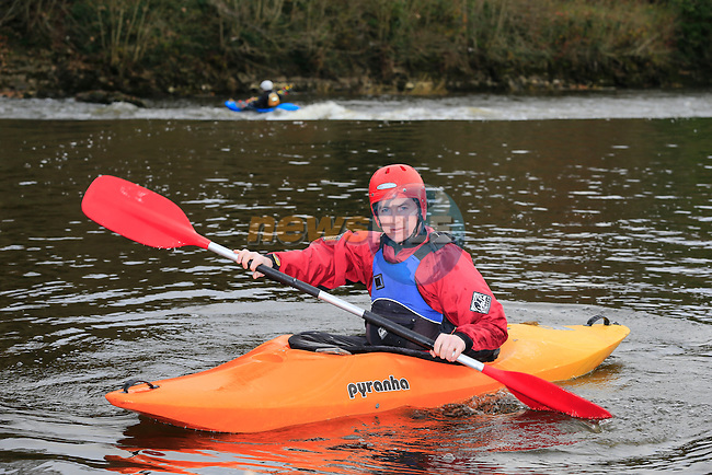 Paul Kirwan members of the Silver bridge kayak club at stackallen Weir<br /> Picture: Fran Caffrey www.newsfile.ie