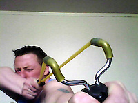 Pictured: A picture taken from Robert Riley's twitter page showing him with a sling shot.<br />