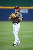 Nashville Sounds third baseman Matt Chapman (7) warms up before a game against the New Orleans Baby Cakes on April 30, 2017 at First Tennessee Park in Nashville, Tennessee.  The game was postponed due to inclement weather in the fourth inning.  (Mike Janes/Four Seam Images)
