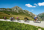 Arthur Vichot (FRA) Groupama-FDJ, Adam Yates (GBR) Mitchelton-Scott and Taylor Phinney (USA) EF-Drapac-Cannondale descending during Stage 11 of the 2018 Tour de France running 108.5km from Albertville to La Rosiere Espace San Bernardo, France. 18th July 2018. <br /> Picture: ASO/Alex Broadway | Cyclefile<br /> All photos usage must carry mandatory copyright credit (&copy; Cyclefile | ASO/Alex Broadway)