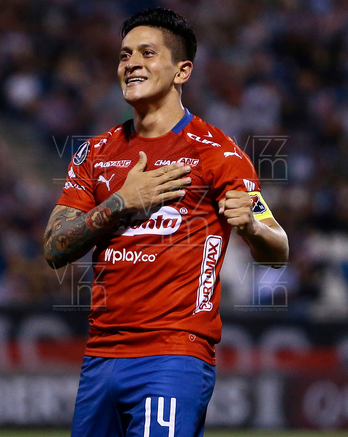 SANTIAGO DE CHILE - CHILE: 06-02-2019: Germán Ezequiel Cano, jugador de Deportivo Independiente Medellín (COL), celebra el gol anotado a Palestino (CHL), durante partido de la Segunda fase, llave 4, entre Club Deportivo Palestino (CHL) y Deportivo Independiente Medellín (COL), por la Copa Conmebol Libertadores 2019 en el estadio San Carlos de Apoquindio, de la ciudad de Santiago de Chile. / German Ezequiel Cano, player Atletico Nacional, celebrates the goal scored to Palestino (CHL), during a match between Club Deportivo Palestino (CHL) and Deportivo Independiente Medellin of the second phase, key 4, for Copa Conmebol Libertadores 2019 at the San Carlos de Apoquindio Stadium, in the city of Santiago de Chile. Photos: VizzorImage / Osvaldo Villarroel / Cont. / Xpress Media