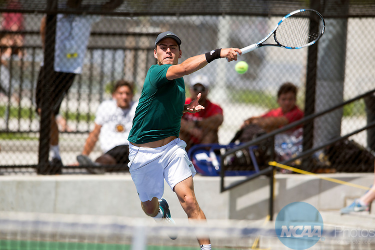 21 MAY 2016: Jamie Bueno of Saint Leo serves the ball during the 2016 Division II Men's Tennis Championship held at the Regency Athletic Complex on the Campus of Metro State University in Denver, CO. Hawaii Pacific defeated St. Leo 5-3 to win the national title. Stephen Nowland/NCAA Photos