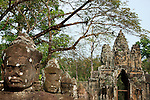 South Gate; Angkor Thom; Khmer; Cambodia; Heads;Statues; Ancient; Ruins; Face; Lokesvara; Jayavarman VII; SE Asia; Siem Reap; Wall;Bridge