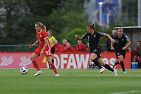 Kayleigh Green of Wales Women's' in action during the Women's International Friendly match between Wales and New Zealand at the Cardiff International Sports Stadium in Cardiff, Wales, UK. Tuesday 04 June, 2019