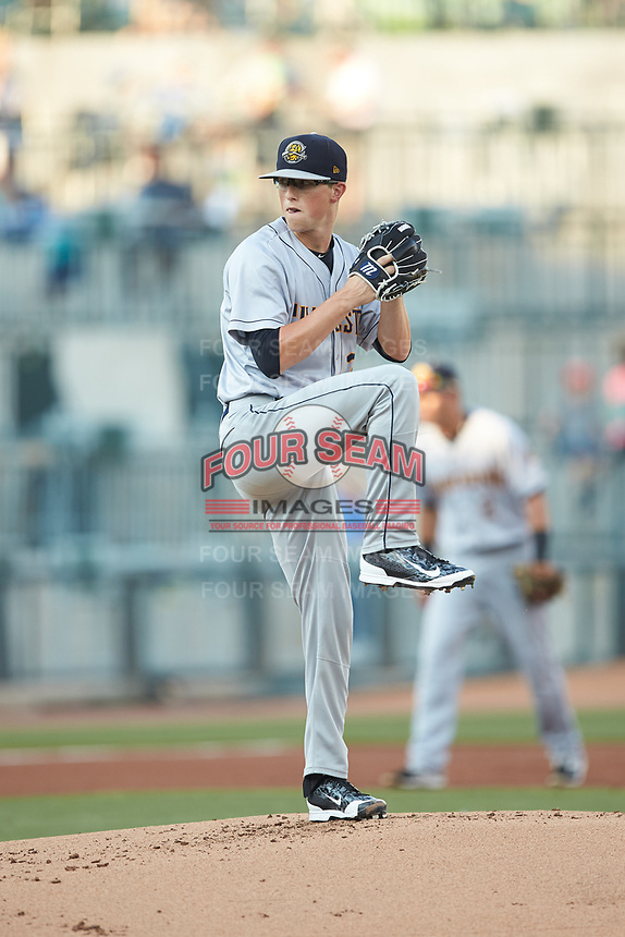 Charleston RiverDogs starting pitcher Phillip Diehl (3) in action against the Columbia Fireflies at Spirit Communications Park on June 9, 2017 in Columbia, South Carolina.  The Fireflies defeated the RiverDogs 3-1.  (Brian Westerholt/Four Seam Images)