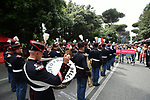 The band plays before the start of Stage 21 of the 2018 Giro d'Italia, running 115km around the centre of Rome, Italy. 27th May 2018.<br /> Picture: LaPresse/Massimo Paolone | Cyclefile<br /> <br /> <br /> All photos usage must carry mandatory copyright credit (&copy; Cyclefile | LaPresse/Massimo Paolone)