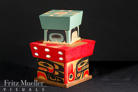 Adaka Cultural Festival 2016, Whitehorse, Yukon, Canada, Yukon First Nation Culture and Tourism Association, Kwanlin Dun Cultural Centre, Duran Henry, carving, boxes