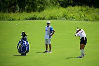 Seon Woo Bae (KOR) hits her approach shot on 2 during Sunday's final round of the 72nd U.S. Women's Open Championship, at Trump National Golf Club, Bedminster, New Jersey. 7/16/2017.<br /> Picture: Golffile | Ken Murray<br /> <br /> <br /> All photo usage must carry mandatory copyright credit (&copy; Golffile | Ken Murray)