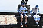 Delko Marseilles Provence KTM team relax before the start of Stage 4 of Il Giro di Sicilia 2019 running 119km from Giardini Naxos to Mount Etna (Nicolosi), Italy. 6th April 2019.<br /> Picture: LaPresse/Fabio Ferrari | Cyclefile<br /> <br /> All photos usage must carry mandatory copyright credit (&copy; Cyclefile | LaPresse/Fabio Ferrari)