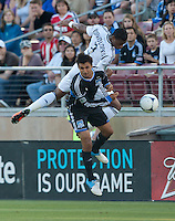 Stanford, California - Saturday June 30, 2012: David Junior Lopes and Chris Wondolowski fight for the ball during a game at Stanford Stadium, Stanford, Ca.San Jose Earthquakes defeated Los Angeles Galaxy,  4 to 3
