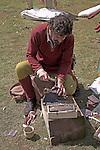 Metal worker, Living History event, Sutton Hoo, Suffolk, England