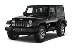 2015 JEEP Wrangler Rubicon 3 Door Suv 4WD Angular Front stock photos of front three quarter view