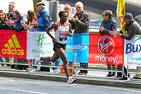Kenenisa Bekele of Etheipoia, at the 40k mark, running to 2nd place in the London Marathon mens elite class during the 2017 Virgin Money London Marathon at London, England on 23 April 2017. Photo by Steve McCarthy/PRiME Media Images