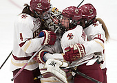 Megan Keller (BC - 4), Katie Burt (BC - 33), Serena Sommerfield (BC - 3), Rachel Moore (BC - 8) -  The Boston College Eagles defeated the University of Vermont Catamounts 4-3 in double overtime in their Hockey East semi-final on Saturday, March 4, 2017, at Walter Brown Arena in Boston, Massachusetts.