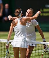 England, London, 28.06.2014. Tennis, Wimbledon, AELTC, Quarterfinal match between Lucie Safarova and Petra Kvitova, Pictured: Petra Kvitova (CZE) receives congratulations after her win.<br /> Photo: Tennisimages/Henk Koster