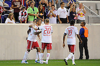 Juan Agudelo (17) of the New York Red Bulls celebrates scoring with teammates. The New York Red Bulls and the Vancouver Whitecaps played to a 1-1 tie during a Major League Soccer (MLS) match at Red Bull Arena in Harrison, NJ, on September 10, 2011.